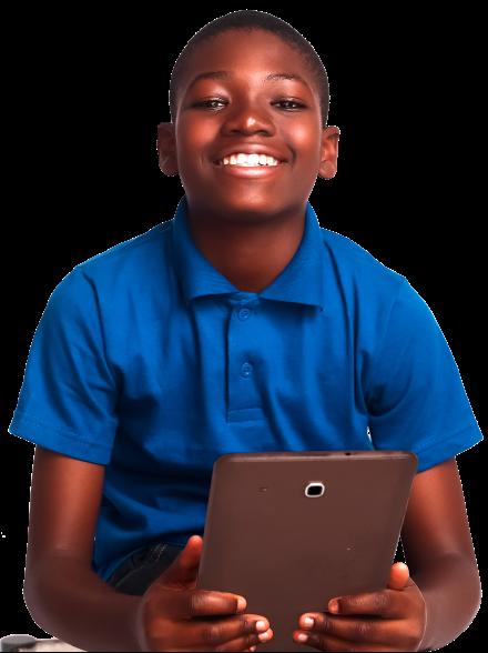 A boy, holding a tablet