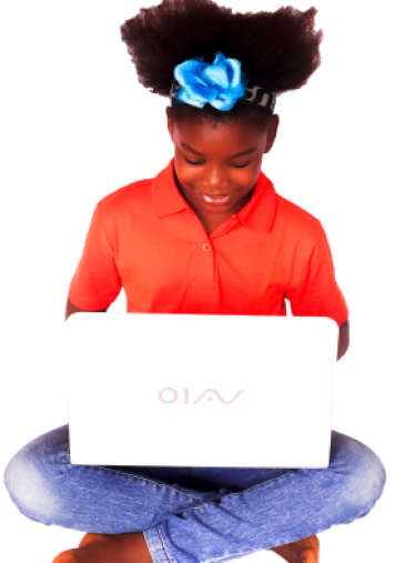 A young lady, holding a laptop